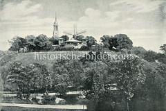 Altes Foto vom Elbpark in Hamburg St. Pauli - Blick auf den Elbpavillion und die Windmühle.