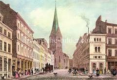 Historische Ansicht der Bergstraße in der Hamburger Altstadt vor dem Großen Brand - Blick zur Petrikirche, ca. 1840.