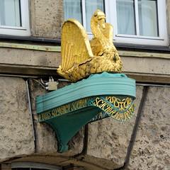 Bilder der Architektur in der Hamburger Dammtorstraße, Stadtteil Neustadt - Bezirk Hamburg Mitte. Goldener Schwan der Schwanenapotheke - erbaut 1912.