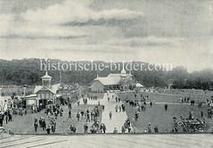 Historische Aufnahme von der Borsteler Rennbahn in der Hansestadt Hamburg, ca. 1900.