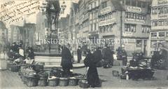 Historische Bilder vom Messberg in der Hamburger Altstadt, Innenstadt. Blick über den Gemüsemarkt auf dem Hamburger Messberg ca. 1885; der dortig Markt war einer der grossen Marktplätze Hamburgs.