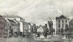 Alte Bilder aus der Dammtorstraße in der Hamburger Neustadt - Innenstadt. Blick Richtung Gänsemarkt - n der Bildmitte links das Gebaude vom Hamburger Stadttheater, das 1827 eröffnet wurde und 2800 Sitze hatte.
