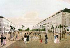Historische Ansicht der Prachtbauten und Flaniermeile in der Hamburger Esplanade um 1830.