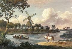 Historische Ansicht von der Dove-Elbe und der Mühle bei Reitbrook, ca. 1818.