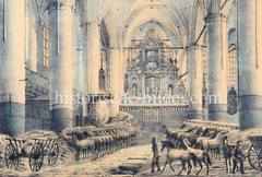 Die Hamburger Hauptkirche St. Petri wurde während der Franzosenzeit / Besetzung durch die Franzosen 1806 - 1814 als Pferdestall genutzt.
