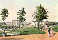 Bilder vom historischen Hamburg - Blick von den Wallanlagen Richtung Dammtor / Esplande um 1830.