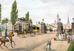 Historisches Motiv vom Steintor in Hamburg St. Georg; im Hintergrund die Kirchtürme der Stadt.