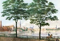 Historisches Hamburg - Blick zur Hamburger Altstadt am Ufer der Binnenalster um 1830.