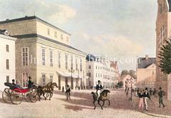 Alte Bilder aus der Dammtorstraße in der Hamburger Neustadt - Innenstadt. Hamburger flanieren auf dem Bürgersteig - Pferdedroschke + Reiter (1829).