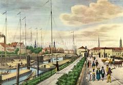Alte Hamburger Ansicht / Hamburgensie vom Deichtor um 1835. Schiffe liegen im Oberhafen, die Oberbaumbrücke führt zum Ericus - dahinter die Türme der Hansestadt.