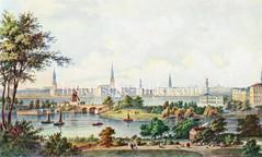 Historische Ansicht der Hamburger Aussenalster / Binnenalster - Blick über die Lombardsbrücke zum Jungfernstieg und den Kirchtürmen der Hansestadt, ca. 1865.