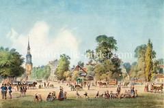 Historische Ansicht der Kirchenallee in Hamburg St. Georg - Blick zur Dreieinigkeitskirche, ca. 1855.