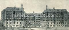 Historische Ansicht der Hambuger Burg am Stellingerweg in Hamburgs Stadtteil Eimsbüttel. Die Hamburger Burg ist eine Wohnhausbauform, deren Grundriss Vorderfenster für alle Wohnungen bei guter Grundstücksausnutzung ermöglicht. Der genossenschaftl