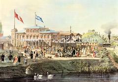 Historische Ansicht vom Hamburg-Bergedorf Bahnhof am Deichtorplatz in der Hamburger Altstadt, 1843.