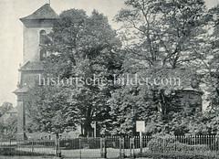 Historische Ansicht der Christianskirche im Hamburger Stadtteil Ottensen, Grab Klopstocks.