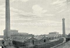 Alte Aufnahme vom Wasserwerk in Hamburg Rothenburgsort, rechts der Wasserturm.