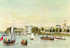 Historische Ansicht der Aussenalster bei Hamburg Uhlenhorst, ca. 1860. Landhäuser stehen am Alsterufer, lks. das Uhlenhorster Fährhaus.