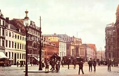 Alte Bilder aus der Dammtorstraße in der Hamburger Neustadt - Innenstadt. Blick über den Stephansplatz zur Dammtorstrasse; links mündet die Esplanade. Ein Strassenbahnwagen fährt Richtung Dammtor.