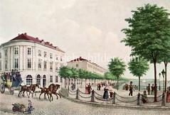 Hamburgensie der Hansestadt - Blick vom Jungfernstieg in den Neuen Jungfernstieg in der Hamburger Neustadt, ca 1830.