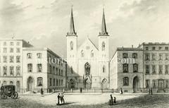 Alte Ansicht der Reformierten Kirche an der Ferdinandstraße in der Hamburger Altstadt (ca. 1850); errichtet 1826 - Architekt Carl Ludwig Wimmel.