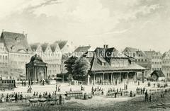 Historische Ansicht vom Hamburger Großneumarkt - zentraler Platz in der Hamburger Neustadt - Marktstände sind aufgebaut (ca. 1850).