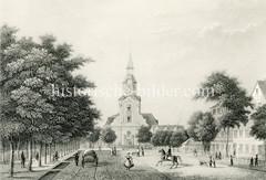 Alte Ansicht von St. Georg - Blick durch die Kirchenallee zur Dreieinigkeitskirche, ca. 1850.