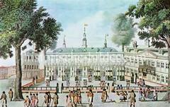 Historische Ansicht der alten Hamburger Börse am Nikolaifleet bei der Trostbrücke, ca. 1830. Die Hamburger Börse wurde 1585 gegründet.