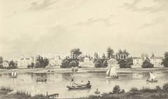 Blick über die Aussenalster zu den Landhäusern / Villen am Harvestehuder Weg in Hamburg Harvestehude, ca. 1850.