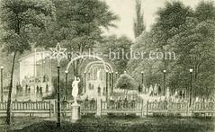 """Altes Bild vom  Hamburger  """"Wörmer's Conventgarten"""" - Biergarten mit Musikpavillon in der Fuhlentwiete."""