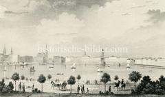 Historisches Panorama der Hamburger Binnenalster  - Blick zum Jungfernstieg und Kirchtürme der Hansestadt (ca. 1850) .