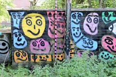 Fotos aus den Hamburger Stadtteilen und Bezirken - Bilder aus Hamburg St. Georg, Bezirk Hamburg Mitte; buntes Graffiti am Berlinertordamm.