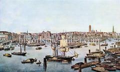 Historische Ansicht vom Hamburger Binnenhafen - Panorama der Altstadt.