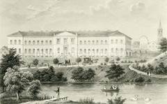 Altes Bild vom Hamburger Johanniskloster am jetzigen Klosterwall in der Hamburger Altstadt.  Das Gebäude wurde 1837 errichtet - Architekt  Carl Ludwig Wimmel.