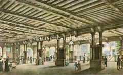 Historische Ansicht der alten Hamburger Börse am Nikolaifleet bei der Trostbrücke, ca. 1830.