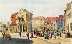 Alte Ansicht vom Altonaer Fischmarkt - re. im Hintergrund der Minervabrunnen, ca. 1860.