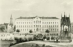 Historische Darstellung vom Hamburger Maria-Magdalenen-Kloster beim Rödingsmarkt in der Hamburger Altstadt.
