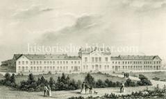 """Historisches Bild vom neuen Werk- und Armenhaus an der Finkenau in Hamburg Uhlenhorst, ca. 1860.  Das Werk- und Armenhaus hat obdachlosen Armen eine Unterkunft geboten; darüber hinaus ware es eine """"Korrektionsanstalt"""", in der """"Sittenlose"""", """"Arbei"""