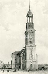 Alte Darstellung vom Hamburger Michel / St. Michaeliskirche in der Neustadt Hamburgs (ca.1850).