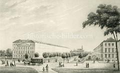 Historische Ansicht der Hamburger Esplanade - Blick von den Wallanlagen  Richtung Dreieinigkeitskirche in St. Georg (ca. 1850).
