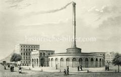 Historische Ansicht der Wasch- und Badeanstalt am Hamburger Schweinemarkt bei der Steinstrasse in der Altstadt Hamburgs. Die erste Warmbadeanstalt Europas wurde 1855 eröffnet - es gab 32 Badewannen für Männer + 16 für Frauen.