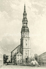 Historische Ansicht der Hamburger Hauptkirche St. Katharinen in der Altstadt Hamburgs (ca. 1850).