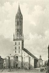 Historische Ansicht der Hamburger Hauptkirche St. Jacobi in der Altstadt Hamburgs (ca. 1850).