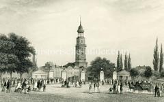 Das Hamburger Millerntor um 1850 - ehem. Grenze zwischen Hamburg und der Stadt Altona/Elbe