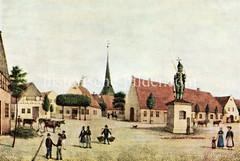 Historische Ansicht auf den Marktplatz in Wedel mit dem Wedeler Roland / Rolandstatue - im Hintergrund der Kirchturm der Immanuelkirche (ca. 1840),