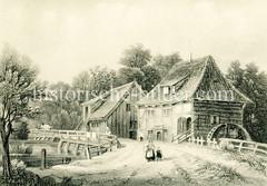 Historische Ansicht der Wohldorfer Mühle im heutigen Stadtteil Hamburg Wohldorf-Ohlstedt; ca. 1860 - die Mühle war eine sogen. Zwangsmühle, d. h. die Bauern der umliegenden Gegend durften nur in dieser Mühle ihr Getreide mahlen lassen.
