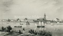 Historisches Bild von der Hamburger Aussenalster - Angler und Boote, Blick nach St. Georg und zur Dreieinigkeitskirche.