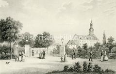 Blick auf das Ferdinandstor - eines der Hamburger Stadttore in der Stadtbefestigung ( ca. 1850).