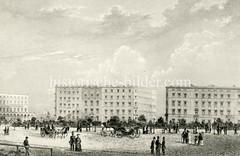 Historische Ansicht vom jetzigen Hamburger Rathausmarkt in der Altstadt - lks. die Alsterarkaden ca. 1850.