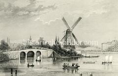 Blick vom Neuen Jungfernstieg auf die Binnenalster, die Lombardsbrücke mit Windmühle (ca. 1850).
