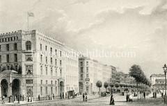 Historische Ansicht vom Hamburger Jungfernstieg in der Neustadt; lks. die Alsterarkaden - re. das Alsterpavillon (ca. 1850)